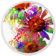 Daisy Abstract Round Beach Towel by Ron Grafe