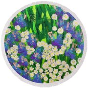 Daisy And Glads Round Beach Towel by George Riney