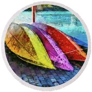 Daisy And The Rowboats Round Beach Towel by Thom Zehrfeld