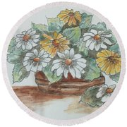 Daisy Craze Round Beach Towel