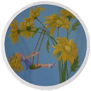 Round Beach Towel featuring the painting Daisy Days by Karen Ilari