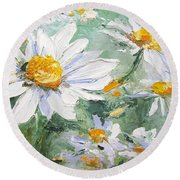 Daisy Delight Palette Knife Painting Round Beach Towel