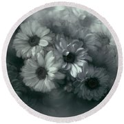 Daisy In Black And White Round Beach Towel by Bonnie Willis