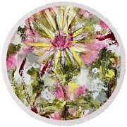 Daisies On Parade No. 1 Round Beach Towel