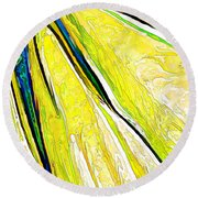 Daisy Petal Abstract In Lemon-lime Round Beach Towel
