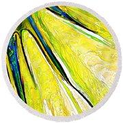 Daisy Petal Abstract In Lemon-lime Round Beach Towel by ABeautifulSky Photography