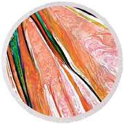 Daisy Petal Abstract In Salmon Round Beach Towel