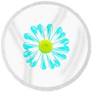 Daisy Pop Art Turquoise Round Beach Towel