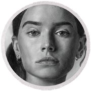 Daisy Ridley Pencil Drawing Portrait Round Beach Towel