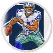 Dak Prescott Dallas Cowboys Oil Art Round Beach Towel