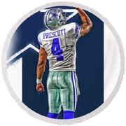 Dak Prescott Dallas Cowboys Oil Art Series 2 Round Beach Towel