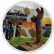 Round Beach Towel featuring the photograph Dale Earnhardt Statue by Paul Mashburn
