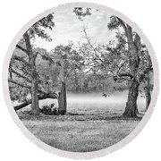 Dale - Foggy Morning Round Beach Towel