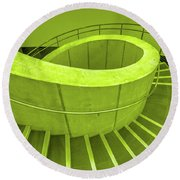 Dali Museum Staircase In Green Round Beach Towel