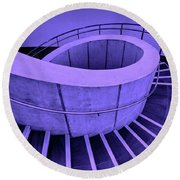 Dali Museum Staircase In Purple Round Beach Towel