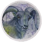 Dall Sheep In Living Color Round Beach Towel