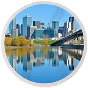 Dallas Above The Trinity River Round Beach Towel by Frozen in Time Fine Art Photography