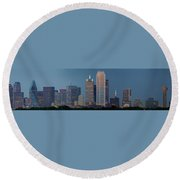 Dallas At Night Round Beach Towel by Jonathan Davison