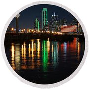 Dallas At Night Round Beach Towel