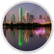 Dallas City Reflection Round Beach Towel