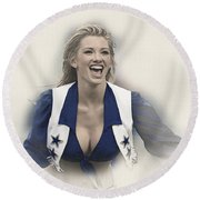 Dallas Cowboys Cheerleader Katy Marie Performs Round Beach Towel