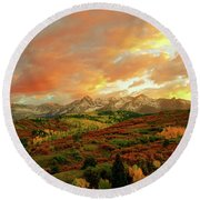 Dallas Divide Sunset Round Beach Towel