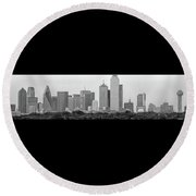 Dallas In Black And White Round Beach Towel by Jonathan Davison
