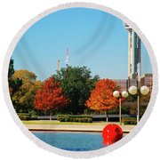 Round Beach Towel featuring the photograph Dallas by James Kirkikis