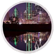 Dallas Lights Round Beach Towel by Frozen in Time Fine Art Photography