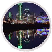 Dallas Reflecting At Night Round Beach Towel by Frozen in Time Fine Art Photography
