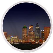 Dallas Skyline At Dusk Big Moon Night  Round Beach Towel