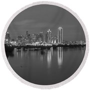 Dallas Skyline Trinity Black And White Round Beach Towel