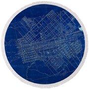 Dallas Texas Official 1875 City Map Blueprint Butterfield And Rundlett Round Beach Towel