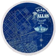 Dallas Texas Official 1875 City Map Blueprint Butterfield And Rundlett Round Beach Towel