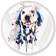 Round Beach Towel featuring the mixed media Dalmatian Head by Marian Voicu