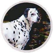 Dalmatian On The Rocks Round Beach Towel by Wendy McKennon