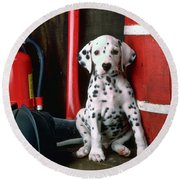 Dalmatian Puppy With Fireman's Helmet  Round Beach Towel