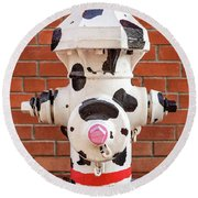 Round Beach Towel featuring the photograph Dalmation Hydrant by James Eddy