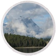 Round Beach Towel featuring the photograph Dam Clouds by Greg Patzer
