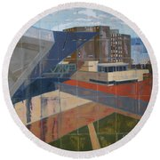 Round Beach Towel featuring the painting Dam Museum by Erin Fickert-Rowland