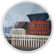 Round Beach Towel featuring the painting Dam Public Library by Erin Fickert-Rowland