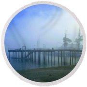 Dana Point Harbor When The Fog Rolls In Round Beach Towel