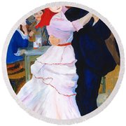 Round Beach Towel featuring the painting Dance At Bougival After Renoir by Rodney Campbell