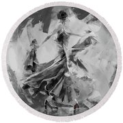 Round Beach Towel featuring the painting Dance Flamenco 01 by Gull G