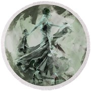 Round Beach Towel featuring the painting Dance Flamenco Art  by Gull G