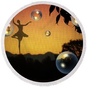 Round Beach Towel featuring the photograph Dance Of A New Day by Joyce Dickens
