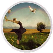 Dance Of Spring Round Beach Towel