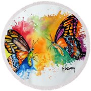 Dance Of The Butterflies Round Beach Towel by Maria Barry