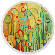 Dance Of The Flower Pods Round Beach Towel