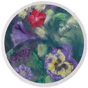 Dance Of The Flowers Round Beach Towel